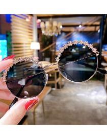 Fashion Golden Flower Alloy Round Childrens Sunglasses