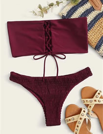 Fashion Red Wine Tether Straps Tube Top Split Swimsuit