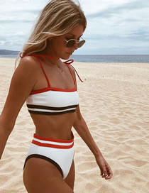 Fashion White Contrasting Contrasting High Waist Split Swimsuit