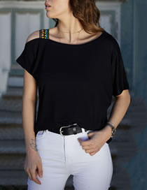 Fashion Black Strapless Irregular Cutout T-shirt