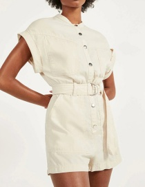 Fashion Creamy-white Single-breasted Jumpsuit With Belt