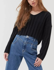 Fashion Black Striped V-neck Loose Sweater