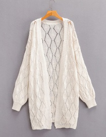 Fashion Beige Diamond Cutout Long Pleated Cardigan Sweater