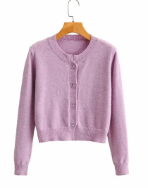 Fashion Purple Single-breasted Crew Neck Short Sweater