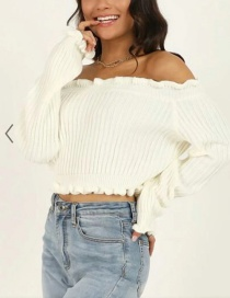 Fashion Cream Color Striped Knit Slim Sweater With Wood Ears