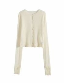 Fashion White Mohair Sweater Knitted Cardigan