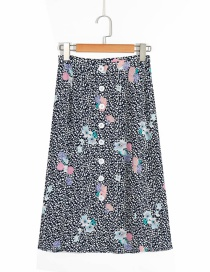 Fashion Black Floral Print Single-breasted Split Lace Skirt