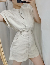 Fashion White Single-breasted Belted Jumpsuit