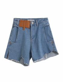 Pantalones Cortos De Mezclilla Con Costuras Divididas Asimétricas