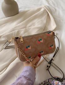 Fashion Light Brown Small Strawberry Ladybug Print Chain Shoulder Crossbody Bag