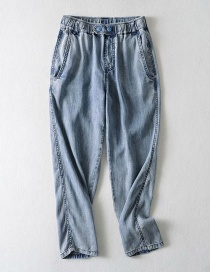 Fashion Middle Stone Blue Washed Tencel Two-button Denim Trousers