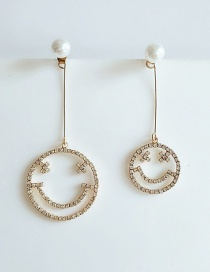 Fashion Yellow Smiley Pearl And Diamond Asymmetric Earrings