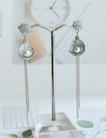 Fashion White Tassel Shell Pearl Alloy Earrings