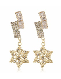 Fashion Yellow Five-pointed Star Diamond Pierced Earrings