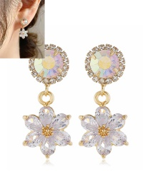 Fashion Yellow Alloy Earrings With Flowers And Diamonds