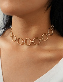 Fashion Golden Geometric Circle Alloy Hollow Necklace