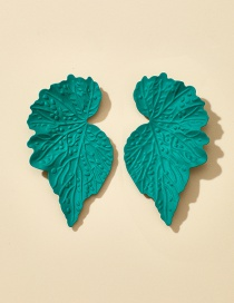 Fashion Green Leaf Alloy Relief Earrings