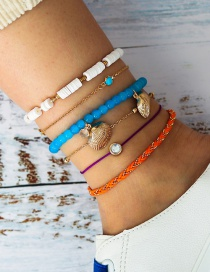 Fashion Color Mixing Turquoise Beaded And Diamond Scallop Multi-layer Anklet Set