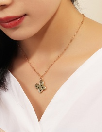 Fashion Green Resin Butterfly Alloy Necklace