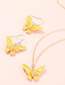 Fashion Yellow Three-dimensional Butterfly Diamond Alloy Earring Necklace Set