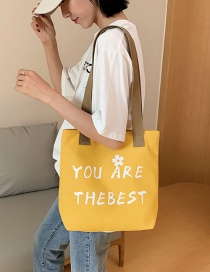 Fashion Yellow Canvas Shoulder Letter Print Tote