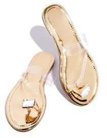 Fashion Golden Transparent Film Slip-on Slippers