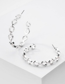 Fashion Silver Round Ear Ring With Metal Twist Chain