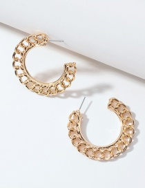 Fashion Gold Color Round Ear Ring With Metal Twist Chain