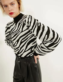 Fashion Zebra Pattern Zebra Print Bubble Sleeve Turtleneck Sweater