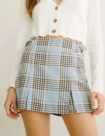 Fashion Blue Plaid Check Short Skirt