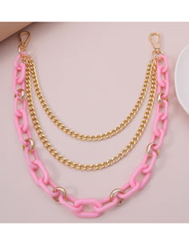 Fashion Pink Metal Waist Chain Multilayer Body Chain
