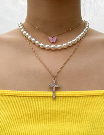 Fashion Golden Beaded Multilayer Cross Butterfly Necklace