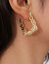 Fashion Golden Hollow Geometric Pattern Earrings