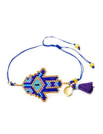 Fashion Blue Section Two Rice Bead Woven Palm Multi-layer Tassel Bracelet