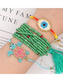 Fashion Green Suit Rice Bead Braided Multi-layer Tassel Beaded Bracelet