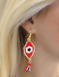 Fashion Red Demon Eye Mizhu Fringe Earrings