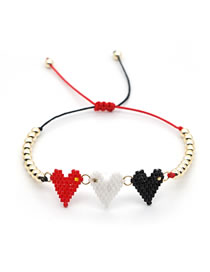 Fashion Red+white+black Mizhu Woven Love Bracelet