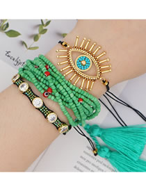 Fashion Set Multilayer Tassel Rice Beads Eye Bracelet