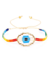 Fashion Section Two Multi-layer Rice Beads Braided Eye Tassel Bracelet