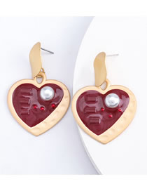 Fashion Red Love Alloy Resin Earrings