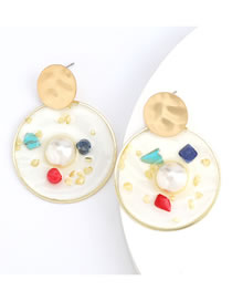 Fashion Bai Cai Round Resin Earrings With Diamonds And Pearls