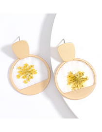 Fashion Yellow Round Alloy Resin Earrings With Flowers