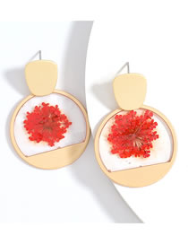 Fashion Red Round Alloy Resin Earrings With Flowers