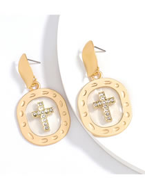 Fashion White Oval Alloy Diamond Cross Earrings