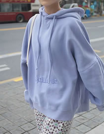Fashion Purple Hooded Sweatshirt With Letter Embroidery