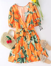 Fashion Orange Fruit Print Dress