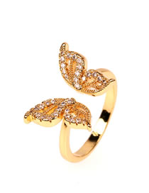 Fashion Golden Hollow Butterfly Opening Adjustable Ring
