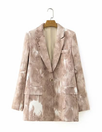 Fashion Color Mixing Tie-dye One-button Loose Suit Jacket