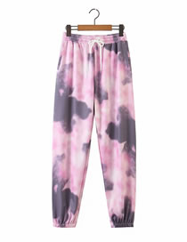 Fashion Color Mixing Floral Print Lace-up Straight Trousers