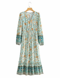 Fashion Blue Floral Print V-neck Lace Long Sleeve Dress